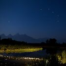 Schwabacher&#x27;s Landing Shoals... Big Dipper Hanging Over the Tetons by A.M. Ruttle