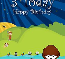 The Night Badgers 3rd Birthday Card  by springwoodbooks