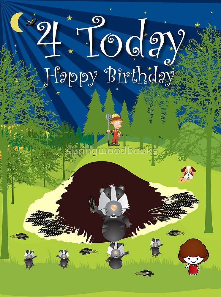 The Night Badgers 4th Birthday Card by springwoodbooks