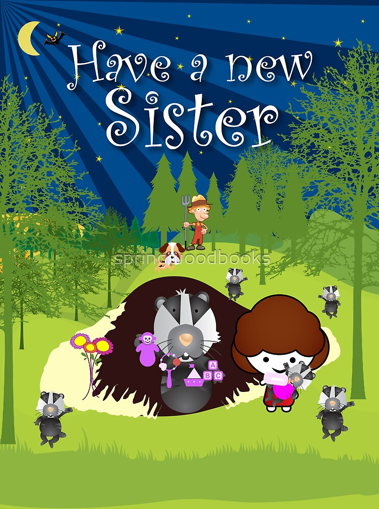 The Night Badgers New Sister Card by springwoodbooks
