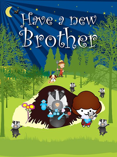 The Night Badgers New Brother Card by springwoodbooks