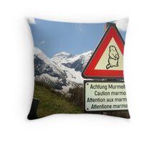 Warning Marmot! Throw Pillow