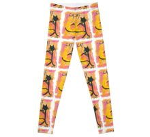 Kitty silhouette playing flute Leggings