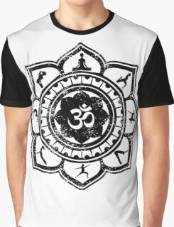Vintage Om Yoga Lotus Flower Graphic T-Shirt