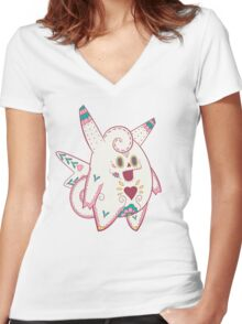 Clefable Pokemuerto | Pokemon & Day of The Dead Mashup Women's Fitted V-Neck T-Shirt