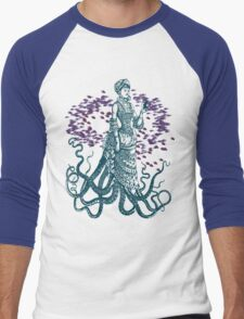Octopus Lady Holding a Dancing Mouse Men's Baseball ¾ T-Shirt