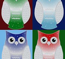 Snow Owls Patchwork by shaneisadragon