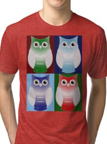 Snow Owls Patchwork Tri-blend T-Shirt