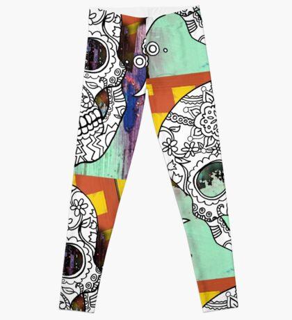 Sugar Skull Color Splash Series Leggings