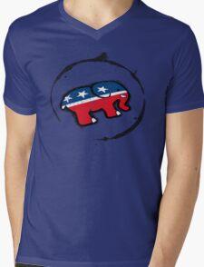Republican Elephant Grunge Mens V-Neck T-Shirt