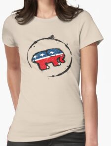 Republican Elephant Grunge Womens Fitted T-Shirt