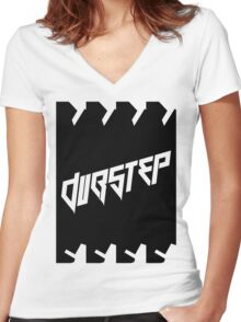 DUBSTEP (VICTORY) BLACK Women's Fitted V-Neck T-Shirt