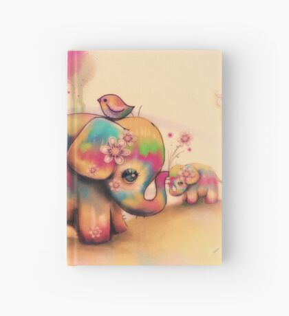 vintage tie dye elephants Hardcover Journal
