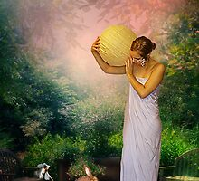 WHILE HANGING THE JAPANESE LANTERN by Tammera