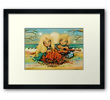 beach campfire Framed Print