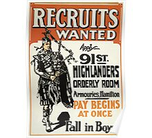 Recruits wanted fall in boys! Poster