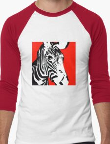 Red Zebra - Pop Art Graphic T-Shirt Men's Baseball ¾ T-Shirt