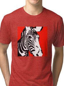 Red Zebra - Pop Art Graphic T-Shirt Tri-blend T-Shirt