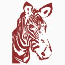 Zebra - Pop Art Graphic T-Shirt (red) by BlueShift