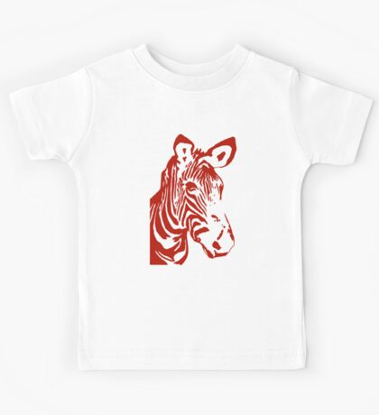 Zebra - Pop Art Graphic T-Shirt (red) Kids Tee