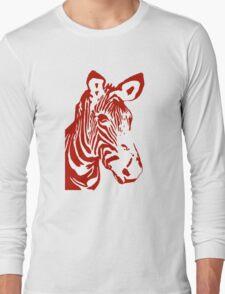 Zebra - Pop Art Graphic T-Shirt (red) Long Sleeve T-Shirt