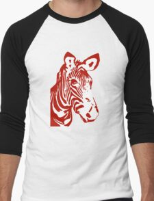 Zebra - Pop Art Graphic T-Shirt (red) Men's Baseball ¾ T-Shirt