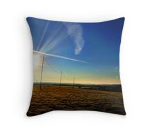 Sun down at festival site, Cornwall. Throw Pillow