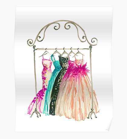 Couture in her closet - Watercolor Fashion Illustration  Poster