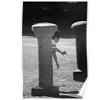 Kid playing with bottle of water Poster