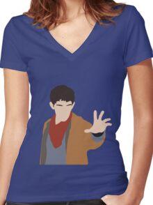 BBC Merlin Silhouette Women's Fitted V-Neck T-Shirt