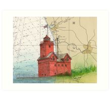 Holland Harbor Lighthouse Lake MI Map Cathy Peek Art Print