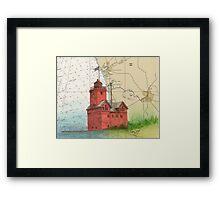 Holland Harbor Lighthouse Lake MI Map Cathy Peek Framed Print
