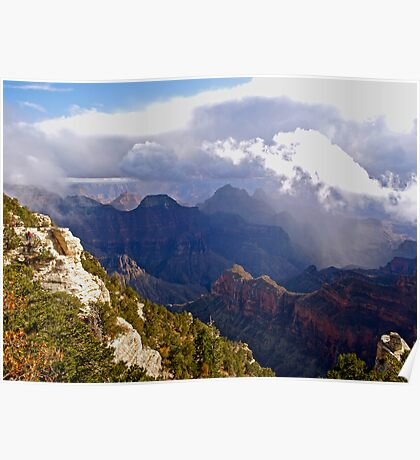 Storm clouds gathering over the Grand Canyon Poster
