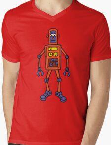 Retro Robot Mens V-Neck T-Shirt