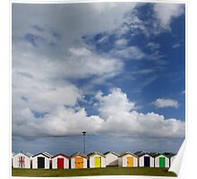 Beach Huts, Torbay, England Poster