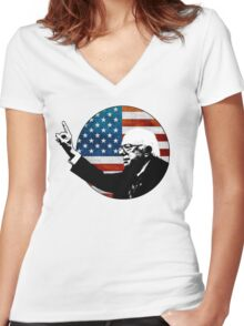 Bernie Sanders Button Women's Fitted V-Neck T-Shirt