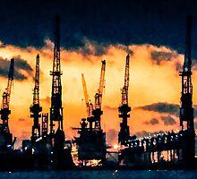 Hamburg Harbour nightfall by wulfman65