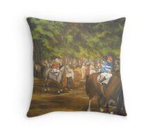 The Paddock at Saratoga Racetrack, C. 1935 Throw Pillow