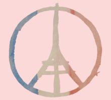 Paris Peace Eiffel Tower in Tricolor Colors Kids Tee