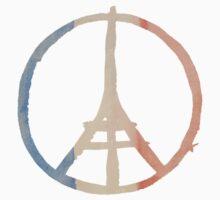 Paris Peace Eiffel Tower in Tricolor Colors One Piece - Short Sleeve