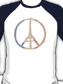Paris Peace Eiffel Tower in Tricolor Colors T-Shirt