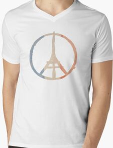 Paris Peace Eiffel Tower in Tricolor Colors Mens V-Neck T-Shirt
