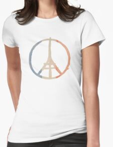 Paris Peace Eiffel Tower in Tricolor Colors Womens Fitted T-Shirt