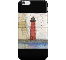 Kenosha Lighthouse WI Nautical Chart Cathy Peek iPhone Case/Skin