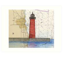 Kenosha Lighthouse WI Nautical Chart Cathy Peek Art Print