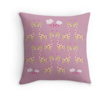 Cute Pink Giraffes Pattern Throw Pillow