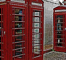Red retro telephone boxes  by swcphotography