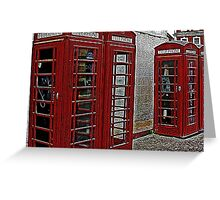 Red retro telephone boxes  Greeting Card