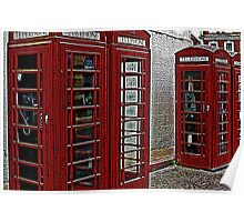 Red retro telephone boxes  Poster