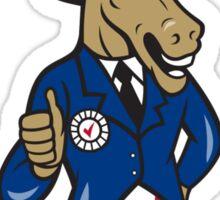 Democrat Donkey Mascot Thumbs Up Flag Sticker